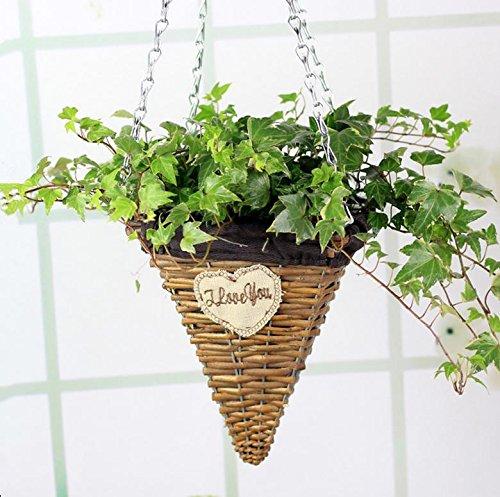 MHGAO Pastorale stijl Natuurlijke plant geweven gras manden, Rieten Handgeweven bloem manden, Bloem Potten, Groene plant Mand Kit