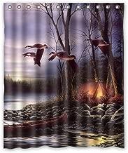 Shower Curtain Mallard Ducks Fly in Sky Polyester Bathroom 60(W) x72(H) Comfortable for Life