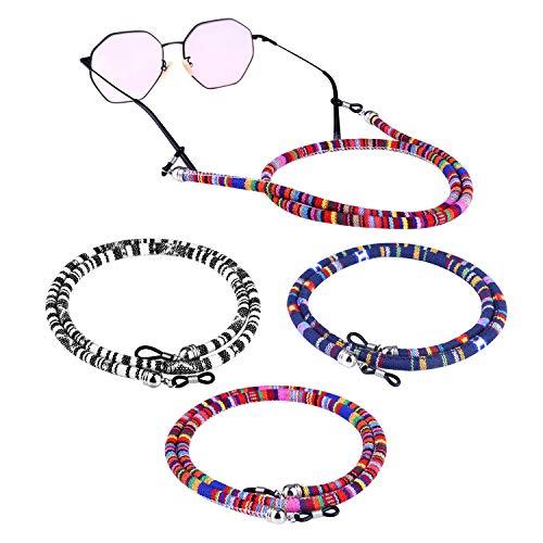 Correa para gafas Retenedor de gafas, 5 piezas de correas de gafas de sol con anillos antideslizantes de silicona para soporte de gafas Correa de vidrio Cordón de seguridad unisex