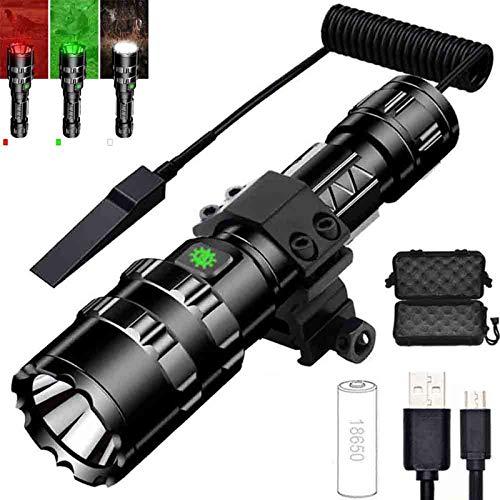 Linterna de caza de foco fijo, LED Predator Linterna de caza Kit de luz recargable 1600 Lumen, Linterna de 5 modos para caza, Detector, Observación nocturna, Detección nocturna con interruptor de pr