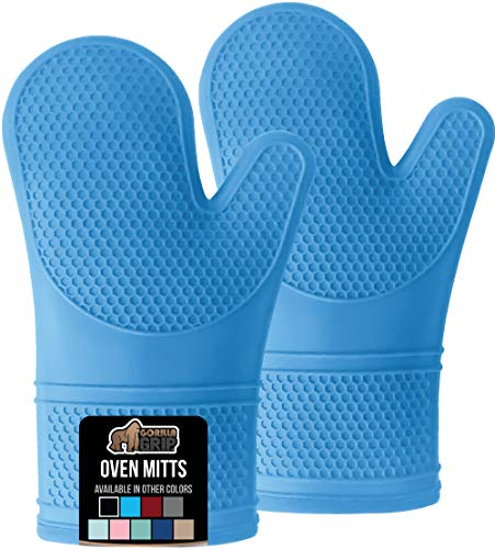 Gorilla Grip Heat Resistant Silicone Oven Mitts Set, Soft Quilted Lining, Extra Long, Waterproof Flexible Gloves for Cooking and BBQ, Kitchen Mitt Potholders, Easy Clean, Set of 2, Aqua