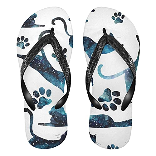 Linomo Sandalias de playa de verano para hombre, diseño de huella de gato y gato, multicolor, 42/43 EU