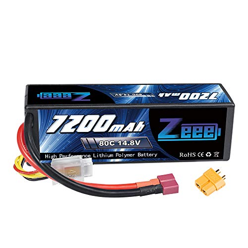 Zeee 14.8V 80C 7200mAh 4S Lipo Battery with Deans T and XT60 Connector Hard Case RC Battery for Car Truck Tank RC Buggy Truggy Racing Hobby