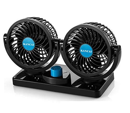 KanCai Ventilatore 12 Volt Doppia Testa Ventola di Raffreddamento avec Accendisigari Auto, Due velocità regolabile e rotazione manuale a 360 gradi