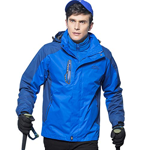 Military Ba Men's Performance Insulated Ski Jacket with Zip-Off Hood-US 2XL(Chest:48.0 tag 4XL)