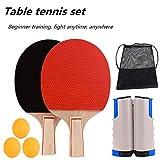 nobrand Red Ping Pong Juego de Raquetas de Tenis de Mesa Juego de 2 Raquetas 3 Bolas Juego de Raquetas de Tenis de Mesa Juego de Red portátil de Bolas libremente retráctil