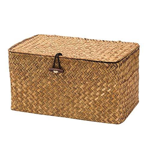 WOOD MEETS COLOR Aufbewahrungsbox Aufbewahrungskiste Dekobox Kosmetik Aufbewahrung mit Deckel Aufbewahrungskörbe aus Natürliche Seagras Praktische ca. 24 × 13 × 14cm (Original)