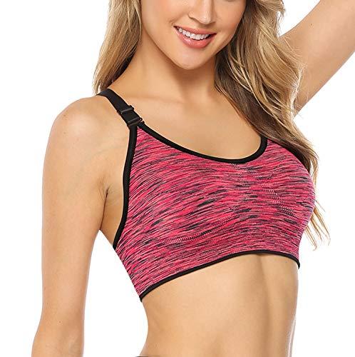 Hawiton Sport BH Damen Bustier Push Up Yoga Fitness Bra Top verstellbare Träger Ohne Bügel 1er/3er Pack Orange L