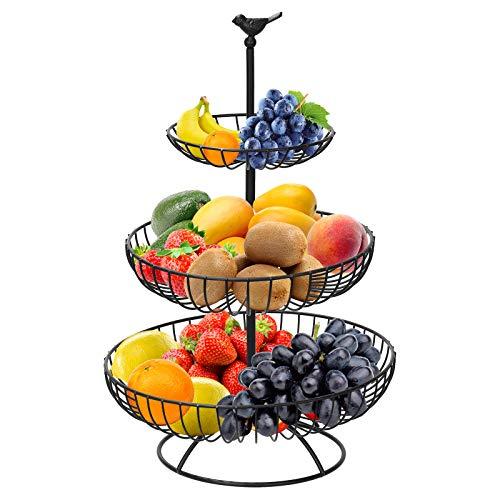 Hossejoy Fruit Bowl, 3 Tier Fruit Bowls, Metal Fruit Basket, Countertop Fruit Bowls, Fruit Stand Storage Holder with Bowls, Keeps Fruits Fresh (Black)