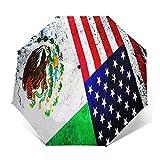 Paraguas Plegable Automático Impermeable México Estados Unidos, Paraguas De Viaje Compacto A Prueba De Viento, Folding Umbrella, Dosel Reforzado, Mango Ergonómico