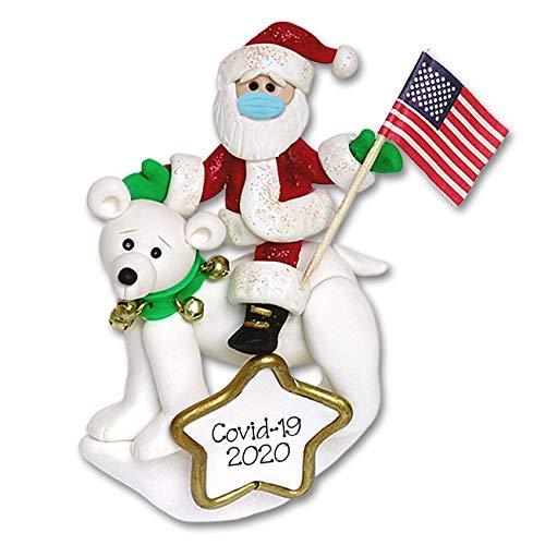 Covid 19 Patriotic Santa on Polar Bear with Face Mask Coronavirus Quarantine Polymer Clay Ornament