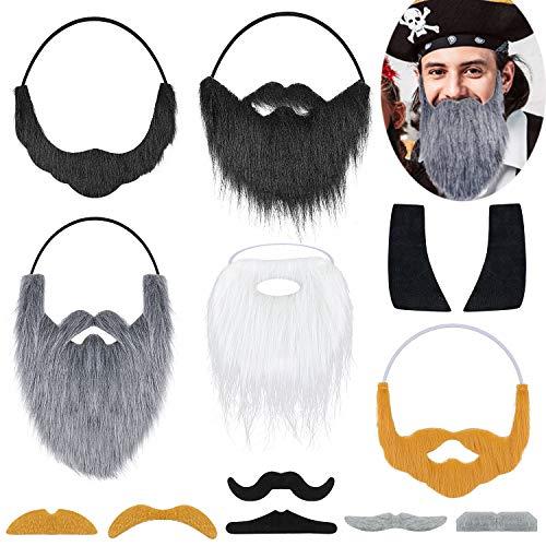 Yotako Fake Beards Halloween Funny Fake Mustache Beard Costume Facial Hair for Adult Halloween Pirate Party Supplies (13 Pack) Black