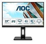 AOC 24P2Q - Monitor FHD de 24 Pulgadas, Altura Regulable (1920 x 1080, 75 Hz, VGA, DVI, HDMI, DisplayPort, USB Hub), Color Negro