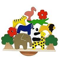 Di legno. Arca di Noè, con 8 blocchi di animali, 2 alberi, 2 fiori, 1 arca, adatto per età 3 e su Pieno di ore di divertimento per il tuo piccolo, con animali come l'elefante, la tigre, la giraffa, il leone, il panda, il coccodrillo, il fenicottero e...