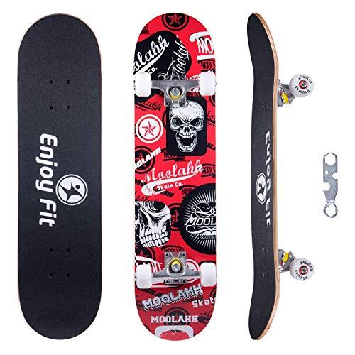 EnjoyFit Skateboard Komplettboard 80 x 20 cm mit ABEC-7 Kugellager 9-lagigem Ahornholz für Kinder Jungendliche und Erwachsene, Belastung 150kg (Roter Schäde)
