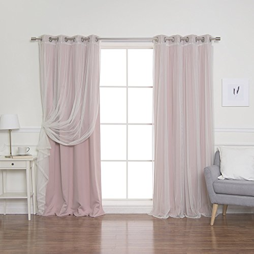 """Best Home Fashion uMIXm Mix and Match Tulle Sheer Lace and Blackout 4 Piece Curtain Set – Stainless Steel Nickel Grommet Top – Dusty Pink – 52"""" W x 84"""" L – (2 Curtains and 2 Sheer Curtains)"""