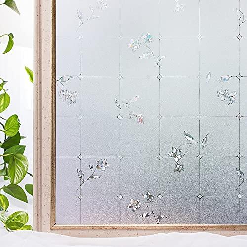 Película de Ventana Decorativa estática de PVC 3D sin Pegamento, Pegatina de Vidrio de protección de la privacidad, Adecuada para baño Familiar, balcón F 60x300cm
