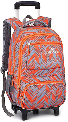 ZXHFDC 18 Inch Student Nylon Rolling Backpack, Travel Wheeled Laptop Backpack For Women Men, Carryon Trolley Luggage Suitcase Business Bag, Fit 15.6 Inch Laptop