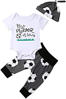 Newborn Infant Baby Boy Soccer Rompers+Pants+Hats 3Pcs Bodysuit Clothes Set