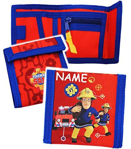 alles-meine.de GmbH Geldbörse -  Feuerwehrmann Sam Jones  - incl. Name - Geldbeutel & Portemonnaie für Kinder - Portemonnaise - Geldtasche Geld - Feuerwehr / Rettung - Geld - J..