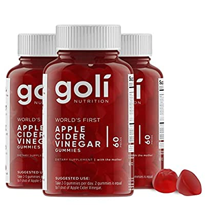 World's First Apple Cider Vinegar Gummy Vitamins by Goli Nutrition - Immunity, Detox & Weight (3 Pack, 180 Count, with The Mother, Gluten-Free, Organic, Vegan, Vitamin B9, B12, Beetroot, Pomegranate)