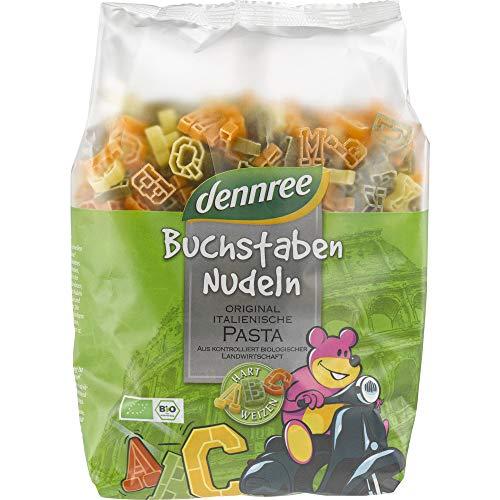 dennree Hartweizen-Buchstaben-Nudeln, bunt (500 g) - Bio