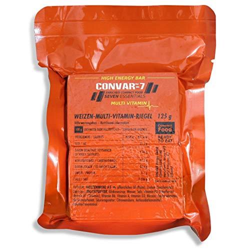 CONVAR-7 - High Energy Bar Multi Vitamin, benutzbar als Notvorrat, Notverpflegung, Notration, für Outdoor Aktivitäten, Krisenvorsorge - wertvolle Inhaltsstoffe - kompakte Verpackung - 125g