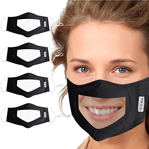 4pc Facemask With Clear Window Visible Expression For The Deaf And Hard Of Hearing