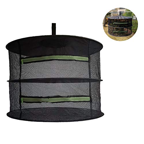 Drying Foldable Mesh, Large Hanging Drying Net with Zipper, Herb Dryer Culture Tent, Herb Bud Plant Flowers Drying Rack Net Cloths,2 Layers
