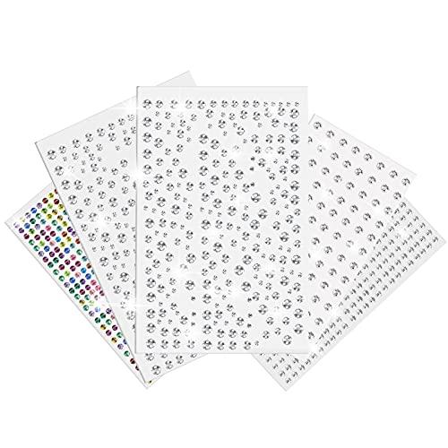 DN DENNOV Strass Aufkleber, 1710pcs Silber Glitzersteine Selbstklebend Strasssteine Selbstklebende Schmucksteine Bastelsteine zum Aufkleben, geeignet für Gesicht, Körper, Nägel oder DIY Handwerk