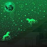 Hizoop Luminoso Pegatinas de Pared, 573pcs Puntos Luna y Estrellas y unicornioAdhesivos Decorativo de Pared Fluorescentes Decoración de la habitación para Chico Niña Bebé, Casa Interior Mural