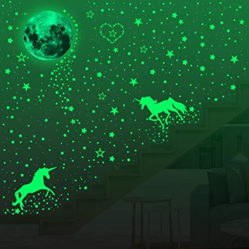 573 Stücke Leuchtsticker Wandtattoo im Dunkeln Leuchten Einhorn Wandtattoos Leuchtende Mond Stern Punkt Aufkleber Fluoreszierende Leuchtende Wand Decke Abziehbilder für Party Kinderzimmer Dekorationen