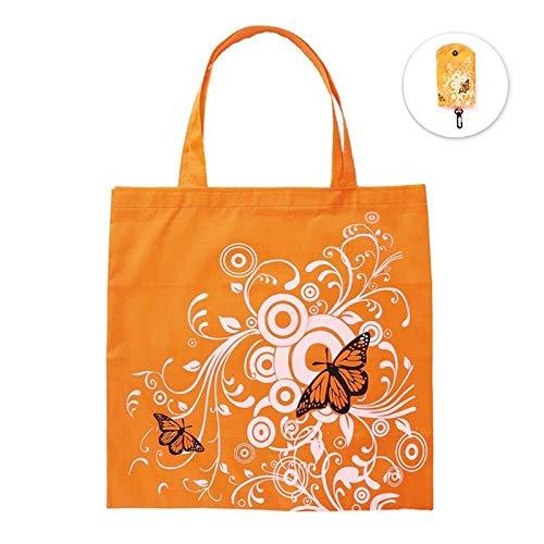 HPPSLT Bolsa de compras reutilizable de bolsillo de viaje, bolsas de comestibles, bolsa de compras plegable, color morado (Color: naranja)