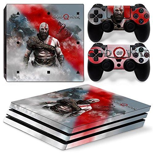 46 North Design Playstation 4 PS4 Pro Folie Skin Sticker Konsole GOW aus Vinyl-Folie Aufkleber Und 2 x Controller folie