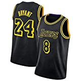 CLKI Kobe Bryant Classic Basket Ballsy Jersey, Lakers Black Mamba Pallacanestro Uniforme, Pantaloncini da t-Shirt in Maglietta Traspirante Moda Uomo #8+#24-M