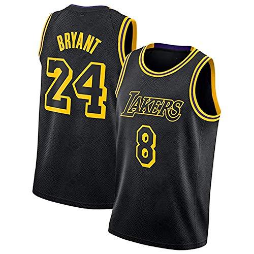 CLKI #24 Kobe Bryant Classic - Camiseta de baloncesto para hombre, color negro, camiseta y pantalones cortos de malla transpirable #8+#24-M