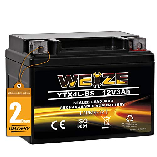 Weize YTX4L-BS High Performance - Rechargeable - Sealed Motorcycle Battery Compatible With Polaris Scrambler, Sportsman 90, Honda Scooters NQ50 Spree,Kawasaki 110 KLX110,Can-Am DS70,Yamaha TTR125E/LE
