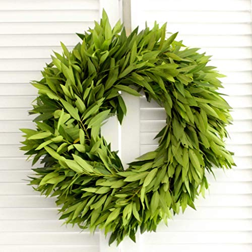 Fresh Handmade Wreath - Bay Leaf - Greenery Wreath (various sizes available) - for Front Door Decor - Church Door Decor for Wedding - Holiday Gifts - Christmas Decor