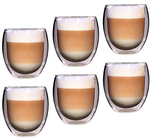 Feelino Rondo doppelwandige 6 Stück 400 ml große Teegläser/Kaffeegläser, edles und extra großes Thermoglas mit Schwebe-Effekt im Geschenkkarton