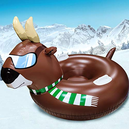 TURNMEON 57 Inch Giant Inflatable Bull Snow Tube, Winter Snow Sled, Heavy Duty Snow Tube with 2 Reinforced Handles & Durable 2-Layer Bottom, Animal Bull Snow Sledding for Kids Adults Winter Toys