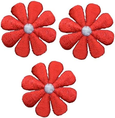 Daisy Applique Patch - Product Flower Soldering Red 3-Pack 1.5