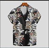 Camisa Hawaiana para Hombre De Manga Corta con Estampado De Dragón Chino - Cuello Vuelto Streetwear Top Summer Lapel Beach Blusa De Botones De Gran Tamaño Vintage para Camisas De Fiesta, L