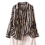 Women's Cotton Linen Striped Shirt Button Down Blouse Long Sleeve Tops With Pockets
