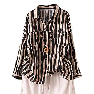 Women's Cotton Linen Striped Shirt Button Down Blouse Long Sleeve Top...