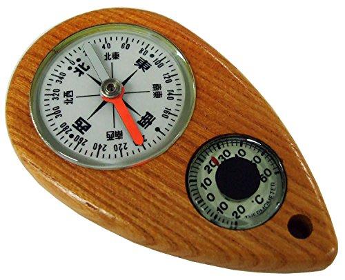 YCM コンパス けやきコンパス オイル式 防水 温度計付き 日本製 ブラウン W-2