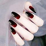 Jovono Faux Ongles Noir Rouge Dégradé Faux Ongles Longue Tête Ongles Artificielle Pleine Couverture Ongles Carrés pour Femmes et Filles (24PCS)
