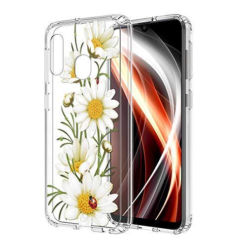 ZhuoFan Funda Samsung Galaxy A20e, Cárcasa Silicona Transparente con Dibujos Diseño Suave TPU Gel Antigolpes de Protector Piel Case Cover Bumper Fundas para Movil Samsung GalaxyA20e, Flor