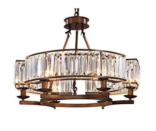 APBEAM Rustic Vintage Farmhouse Round Crystal Chandelier with Brown Frame, Pendant Lighting Fixture Flush Mount for Dining Room Bedroom Living Room