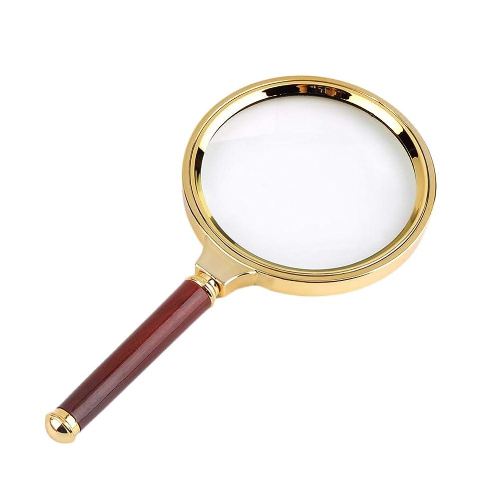 アウトドア満足させる寛大さDeeploveUU クラシック90ミリメートルハンドヘルドゴールデンフレームと赤いハンドル10倍拡大鏡虫眼鏡ルーペ読書ジュエリー