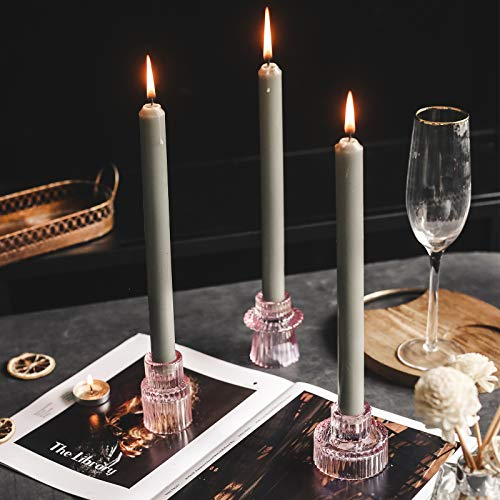 """Lysenn Glass Candle Holders for Pillar Candles, Taper Candles, Tealight Candles - Premium Multipurpose Candlestick Holders - Fits 7/8"""", 1.3"""", 1.5"""", 2"""" Candle - Decorative Candle Stand Set of 3"""